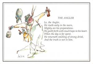 Postcard Art  The Angler  Drawing by Julia Whatley E73