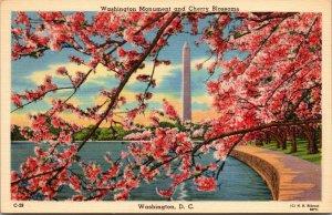 Vtg 1930s Washington Monument and Cherry Blossoms Washington DC Unused Postcard