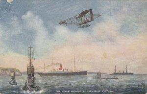 Neale Biplane Subarmine Flotilla Antique Tucks Military Postcard