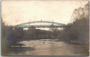 Vintage 1908 BROOKLYN, Illinois RPPC Real Photo Postcard THE BRIDGE w/ Cancel