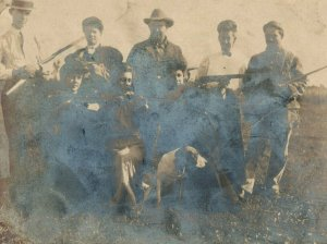 C.1910 RPPC Group of People All Holding Rifles Guns Woman Vintage Postcard P120