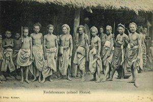 indonesia, FLORES, Lesser Sunda, Armed Endenese Natives (1899) Postcard