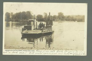 Rocky Hill CONNECTICUT RP 1906 FERRY BOAT Crossing River nr Middletown Hartford