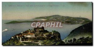 Old Postcard Eze View of the village and Cap Ferrat