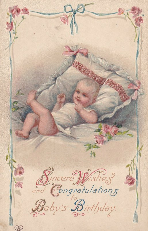 1900-1910s; Sincere Wishes And Congratulations To Baby's BIRTHDAY, Blonde Baby