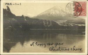 Japan Mt. Fuji c1920 Real Photo Postcard - Stamp Cancel on Front