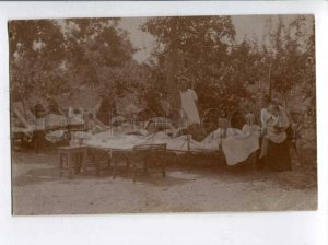 401751 RUSSIA Summer camp Kids Vintage REAL PHOTO card