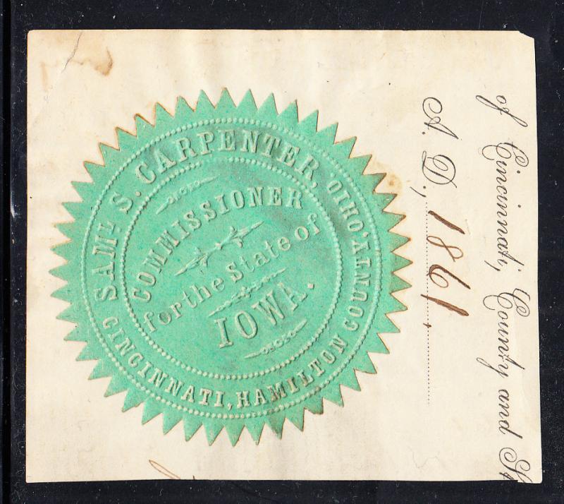 Seal - Samuel Carpenter - Cincinatti - Iowa Commisioner 1861