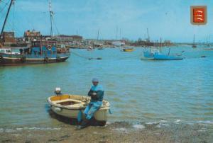 Fisherman Man Sitting on Boat Point Clear St Osyth Essex Postcard