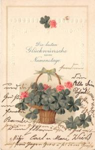 BG4514  namenstage  clover embossed name day happy birthday germany greetings