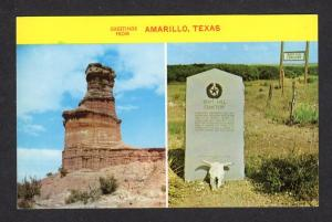 TX Greetings From Amarillo Texas Postcard Boot Hill Cemetery Palo Duro Canyons
