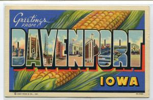 Greetings From Davenport Iowa Large Letter 1941 linen postcard