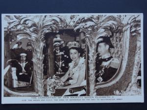 The Royal Coach HER MAJESTY QUEEN ELIZABETH II Coronation 1953 by Photochrom