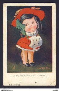 Sunday's child is Bonny and good, 1907 - JS Artist - Girl hand muff bow ...