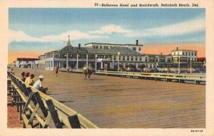 Rehoboth Beach Delaware Belhaven Hotel and Boardwalk Vintage Postcard AA37169