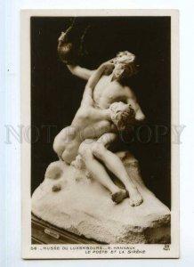 246508 NUDE Poet LYRE & Mermaid by HANNAUX Vintage Postcard