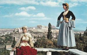 2 Women, Attica and Amalia in Traditional Greek Costumes in Ruins, Greece 1959