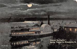 Trenton NJ Steamer Burlington Leaves 4 Philadelphia~Moon Peaks Thru Clouds c1910