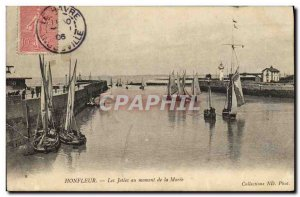 Old Postcard Honfleur Jetee to Maree Time of Charter