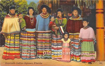 Published by Tichnor Bros Inc. Seminole Indians, Florida USA Postcard