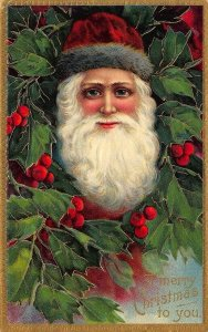 A Merry Christmas To You Santa Claus Head Red Hat Ivy Berries Embossed Postcard