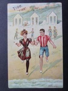 Ellay: Bathing Belle Theme TIDE 'TIED' Young Lady & Gent run into the Sea c1913