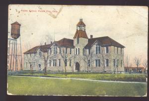 PONCA CITY OKLAHOMA PUBLIC SCHOOL WATER TOWER VINTAGE POSTCARD 1908