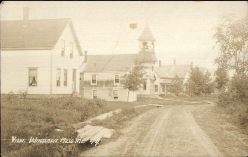 Winslows Mills ME Stret View & Bldgs c1910 Real Photo Postcard