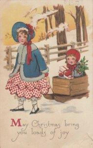 CHRISTMAS ; 2 children & pull sled , 1909