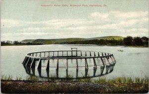 Harrisburg Pennsylvania~Wildwood Park~Automatic Water Gate~Boat Bkgd~c1910