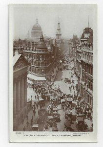RP: LONDON, England, 1900-10s; Cheapside Showing St. Paul's Cathedral