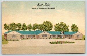Oneida Tennessee~Scott Motel~Sign in Courtyard~1940s Roadside