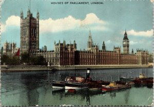 CONTINENTAL SIZE POSTCARD HOUSES OF PARLIAMENT LONDON UK RIVER THAMES 1959