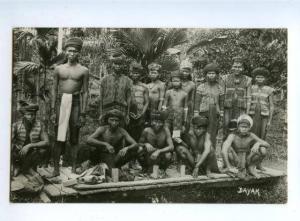 151552 INDONESIA Borneo DAYAK People Types Vintage photo PC