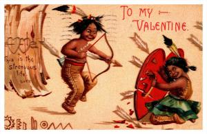 Valentine's  Indian children playing Bow and arrows