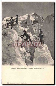 Postcard Old Passage of Mountaineering & # 39A Route du Mont Blanc crevasse
