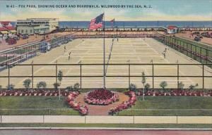 New Jersey Wildwood Fox Park Showing Tennis Courts Ocean and Boardwalk 1952 C...