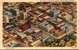 Indiana South Bend Business District Aerial View Curteich