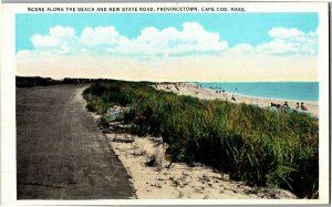 Scene Along the Beach & New State Road Provincetown Cape Cod MA Vtg Postcard R16