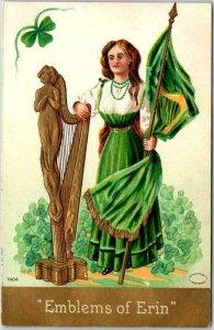 1910s ST. PATRICK'S DAY Greetings Postcard Girl Flag Harp Emblems of Erin
