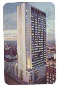 Night view of Denver's 28 story First National Bank Bldg, Skyscraper, Denver,...