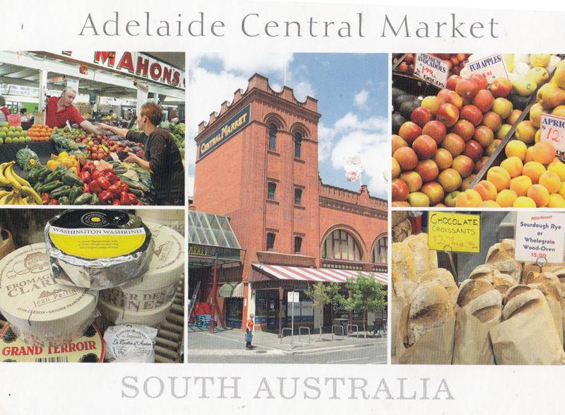 Adelaide Market Chocolate Croissants Apples Apricots Cheese Australian Postcard