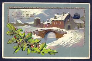 'Merry Christmas' Holly & Snow Covered Buildings Used 1910s