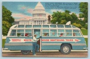 Postcard Washington DC White House Sightseeing Tour Bus c1940s AD9