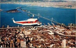 Vtg 60s Aerial Postcard San Francisco & Oakland Helicopter Airlines Sikorsky S62