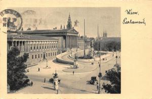 Wien Parlament Statues Street Vintage Cars Postcard