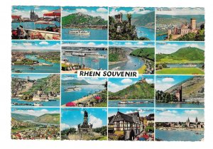 Germany Rhein Souvenir River 16 Views Rhein River Multiview 4X6 Postcard