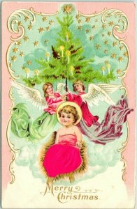 Vintage 1910s CHRISTMAS Embossed Postcard Baby Jesus w/ Real Silk Cloth / Angels