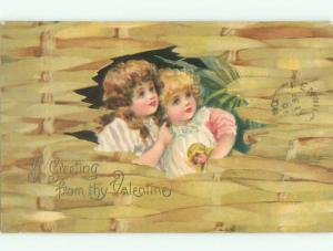 Pre-1907 valentine CUTE GIRL HOLDS DOLL WITH HER FRIEND k5442