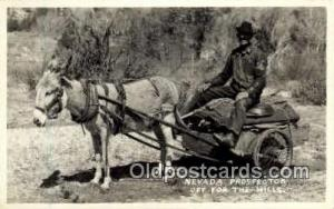 Nevada Prospector off for the hills, Real Photo Postcard Postcards  Donkey Cart